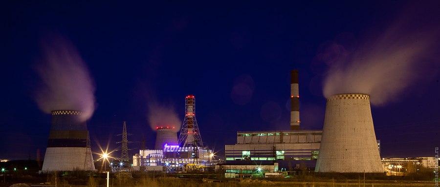 Южная ТЭЦ ночью