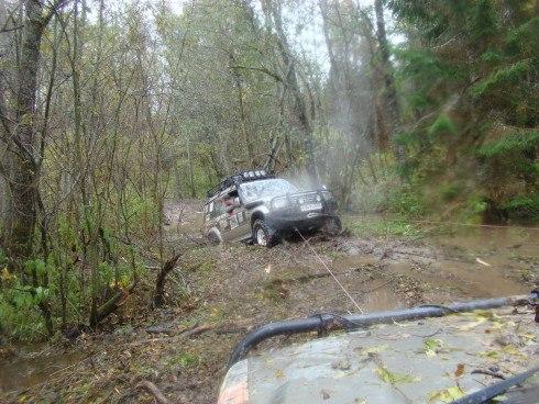 машина на тросе в лесу
