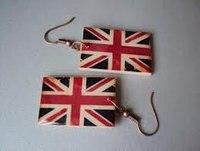 Серьги с изображением Британского флага, односторонние.  Вы можете заказать серьги с любым другим изображением...