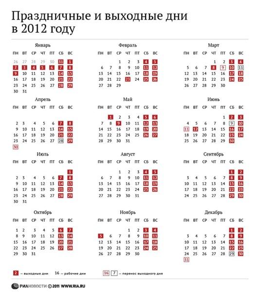 Праздничные и выходные дни в 2012 году