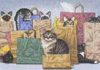 """Картины и панно ручной работы.  Ярмарка Мастеров - ручная работа Вышитая картина  """"Коты в мешках """".  Handmade."""