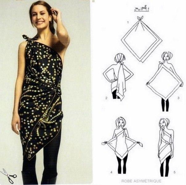 Как сшить платье из платков своими руками