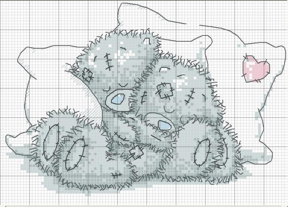 Мишка спит вышивка схема