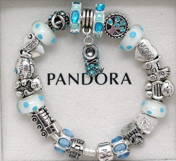 Купить голубой браслет пандора