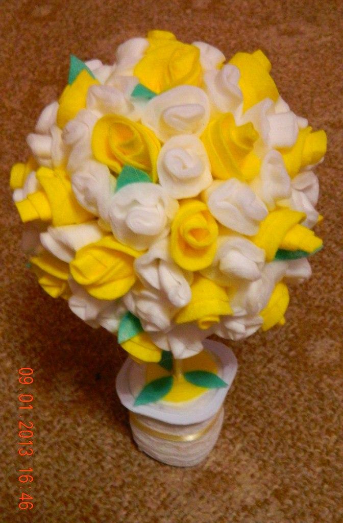 Цветы из ватных дисков своими руками пошаговое фото для начинающих 77