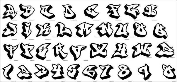 граффити шрифты алфавит: