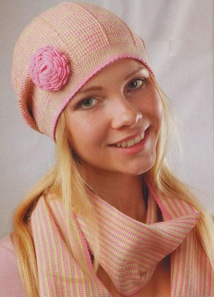 Схемы вязания женских шапо