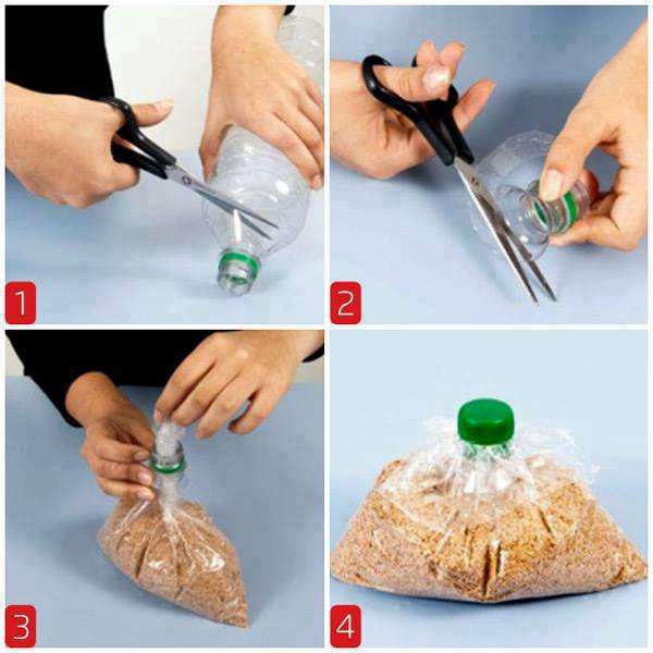 How to close a plastic bag by means of a cover and a neck from a plastic bottle\u000d\u000a#DIY_Идеи