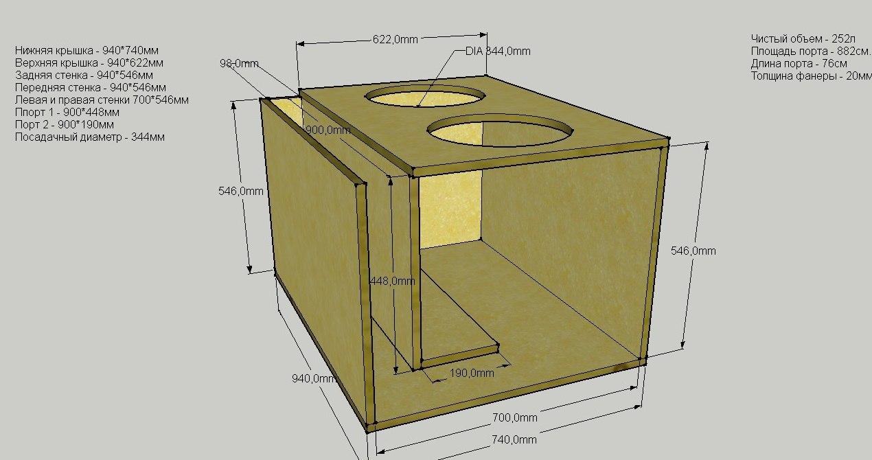 схема короб сабвуфера на 2 динамика