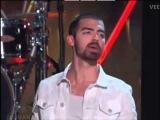 Jonas On Miss USA - pom poms, neon, first time