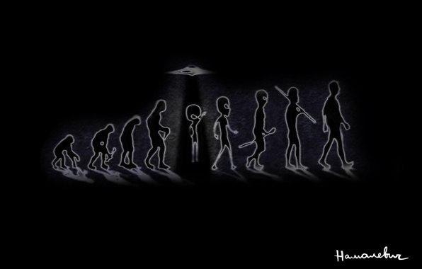 Разные обои. эволюция, Нло, человек, происхождение, обезьяна.  Обои еда. обои на рабочий стол 640 на 480.