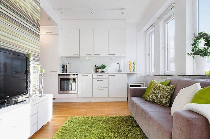 Дизайн квартиры открытой планировки 33 м в Стокгольме / Швеция - http://kvartirastudio.
