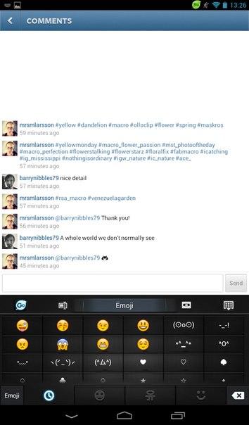 как ставить смайлики в instagram: