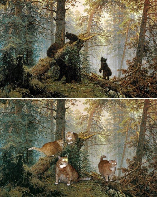 Как сделать легендарные картины известных художников еще лучше? - Просто добавить кота.