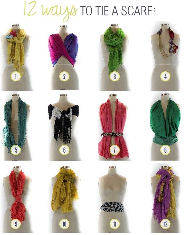 Светло зеленый шарф: сложите