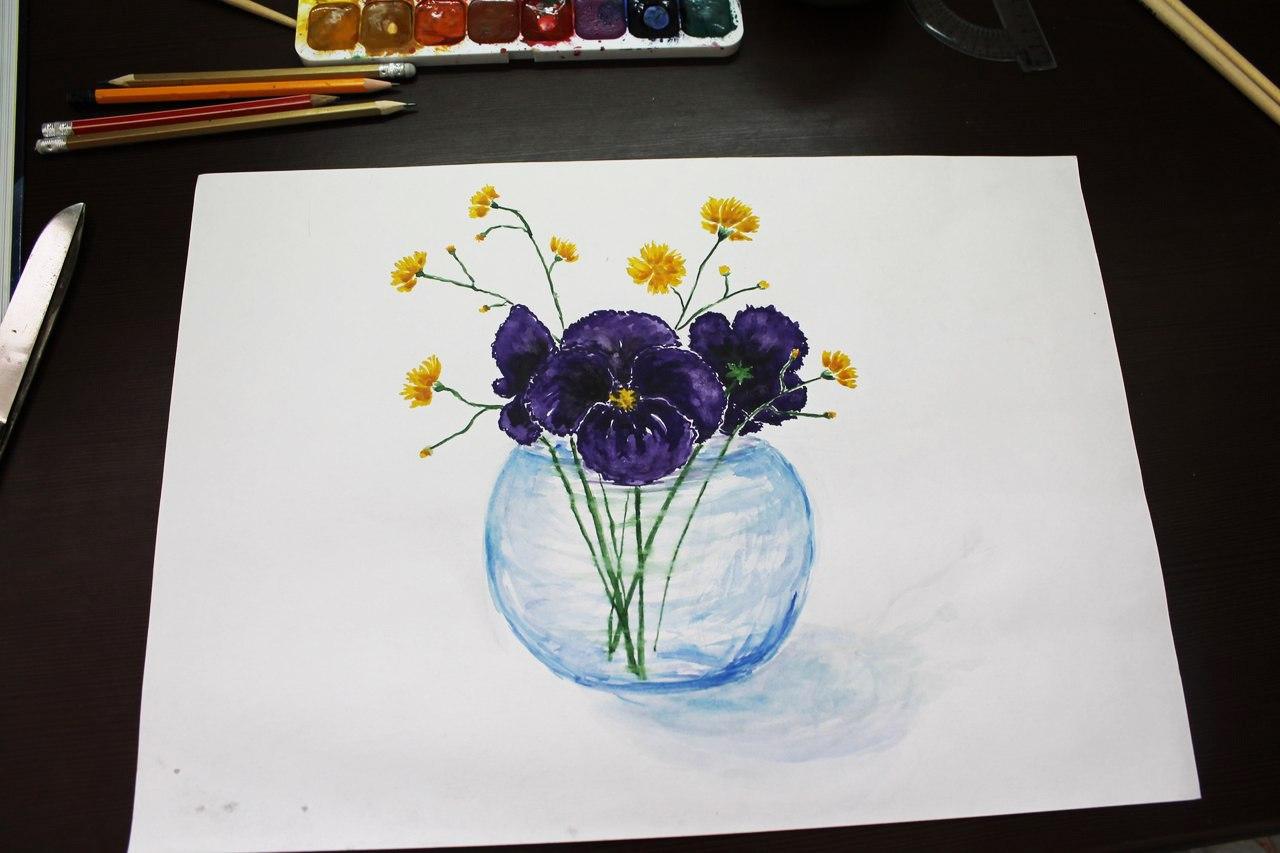 Рисуем гуашью цветы поэтапно
