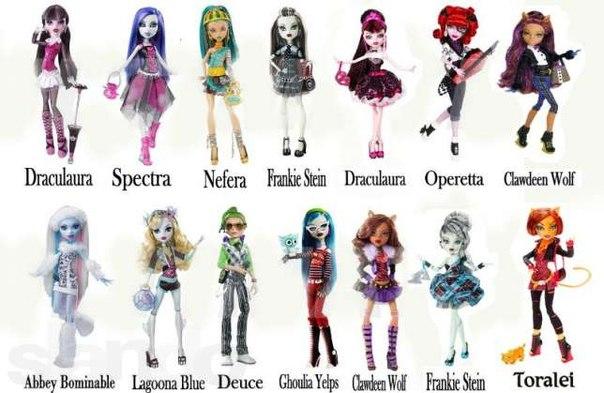 куклы монстер хай фото и их имена