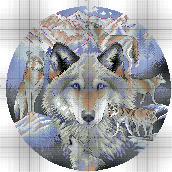"Вышивка ""Зов волка"", схема"