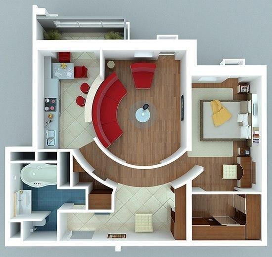 Идея перепланировки двухкомнатной квартиры.