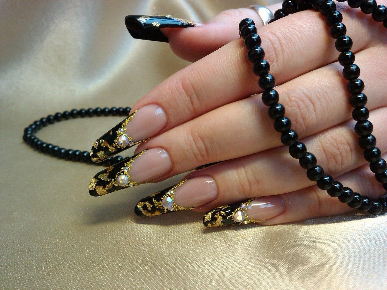 Нарощенных ногтей осень фото