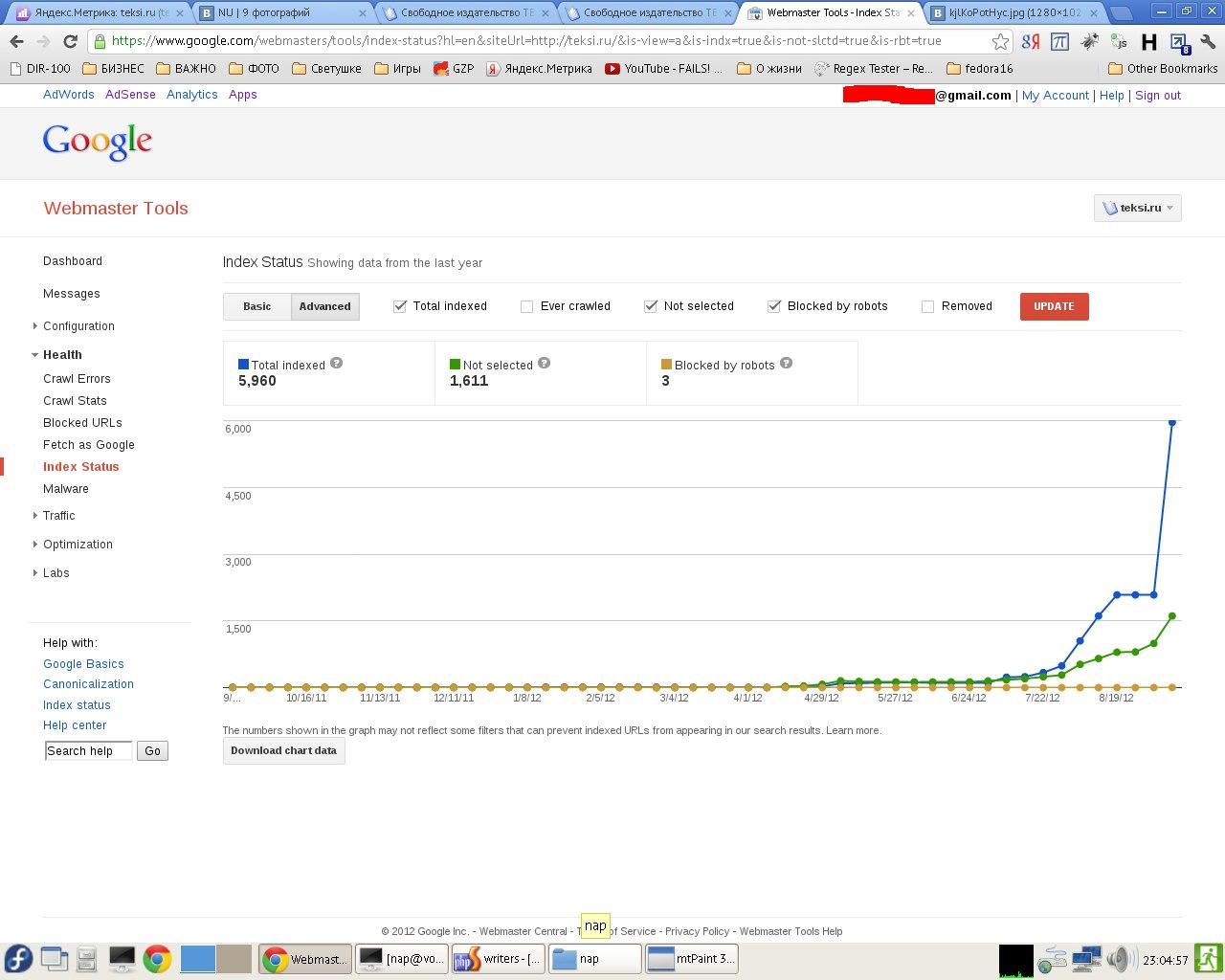 Рост числа проиндексированных поисковой системой Google страниц сайта