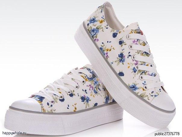 Кеды синие с цветами 47