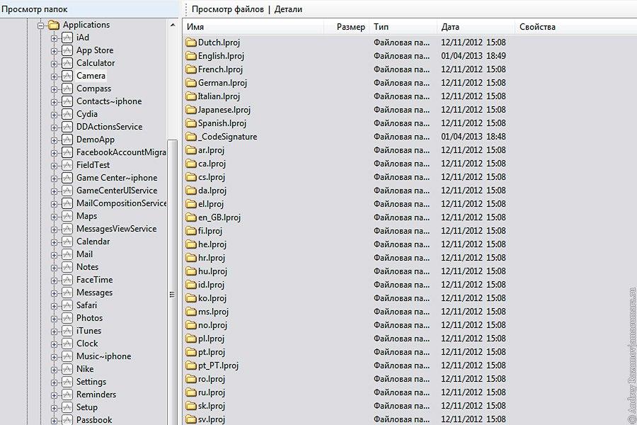 файловая система iOS