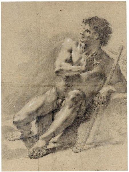Сидящий обнаженный мужчина