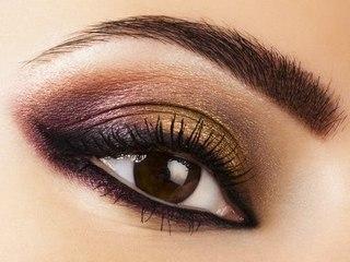 Вечерний макияж карих глаз техника