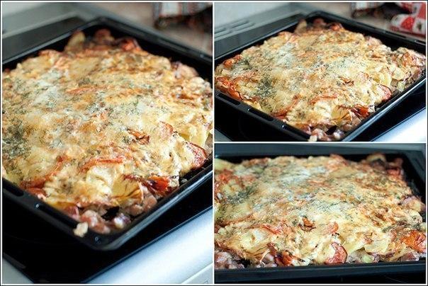 Мясо с картофелем и помидорами в духовке рецепт с пошагово