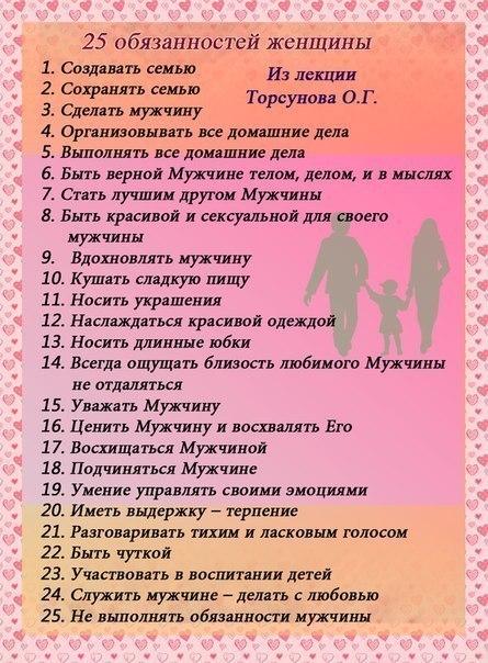 25 обязаностей мужчин и женщин.
