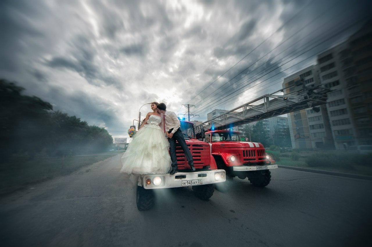 Фото свадьбы с пожарной машиной