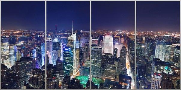 фотообои ночного города в интерьере: