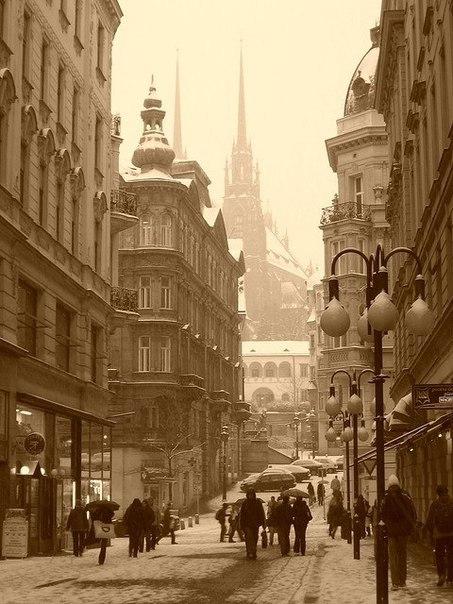 Первый снег в Брно, Чехия
