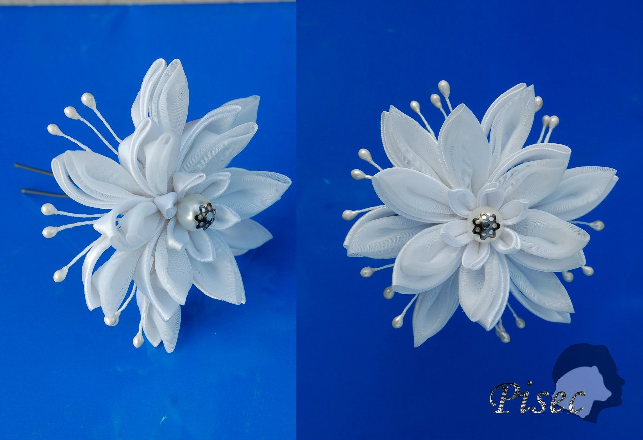 Цветок из канзаши своими руками свадебная 30