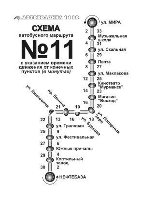 Мурманск YouMurman.ru - Расписание движения автобусов по маршруту 11.