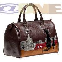 Вместительная сумка-саквояж из натуральной кожи.  Аппликация из разноцветной кожи в сочетании с рисунком по коже.