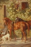 Картинка на рабочий стол на тему после охоты, добычя, Картина, собаки, лошади с размером 320 на 480 в высоком качестве.