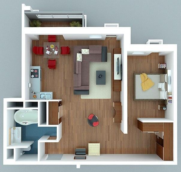Дизайнерское решение для небольшой квартиры
