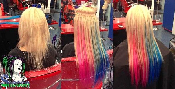 Наращивание волос прядями цветными