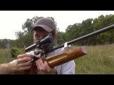 Пневматическая винтовка с оптическим прицелом, стрельба по самодельной падающей мишени.