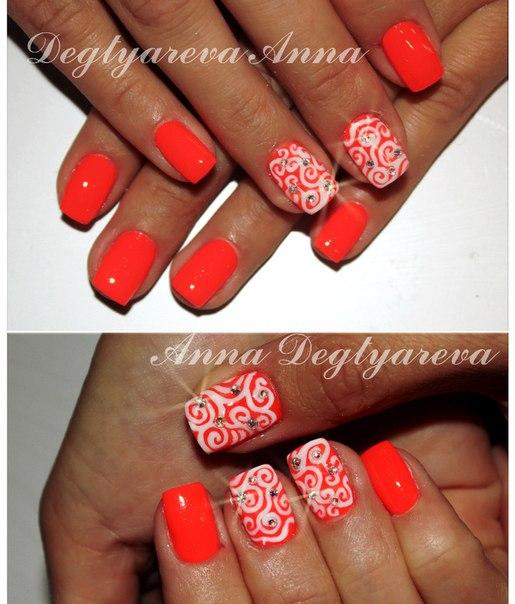 Красные ногти с рисунком гель лак