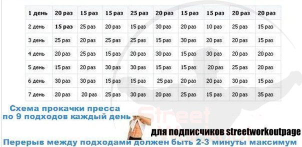 Схема тренировок пресса