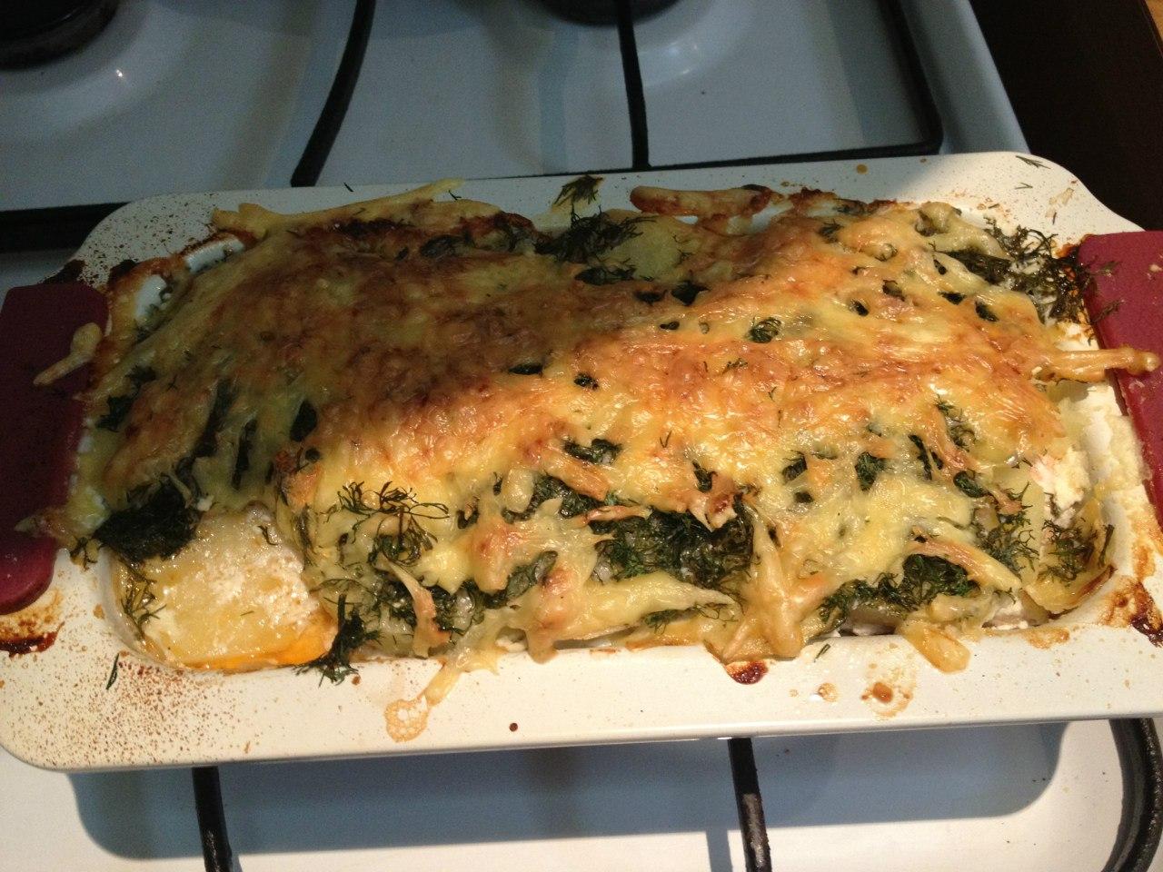 Рыбная запеканка: поставить в духовку на 40-50 минут