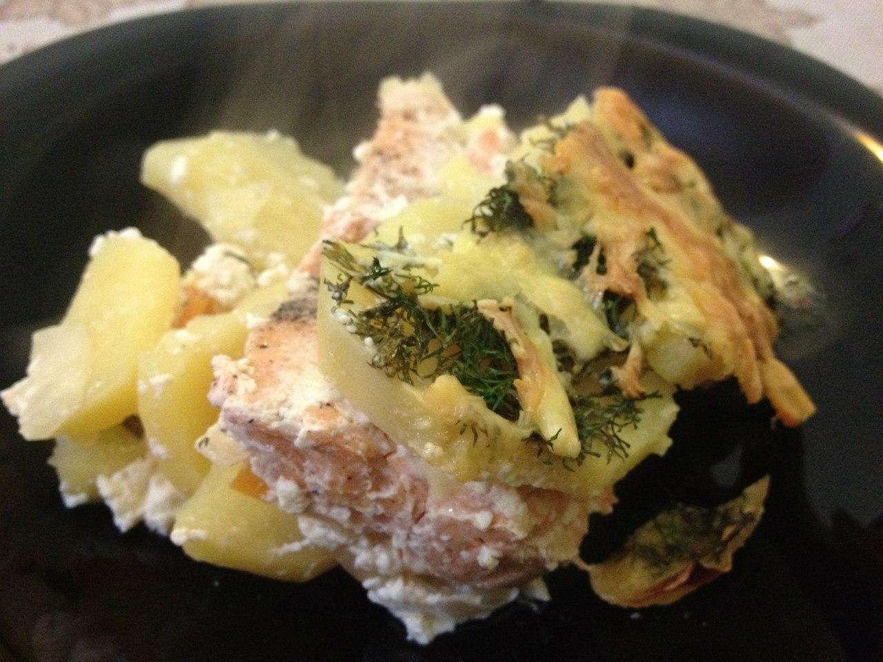 Запеканка с картошки и рыбы: запеканка готова