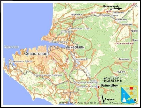 Байк - шоу Севастпооль, Гасфорта, карта