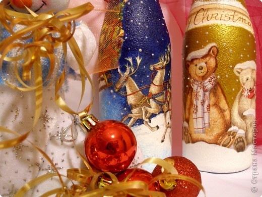 Новогоднее украшение бутылок.