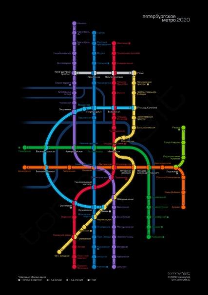 целью проекта было создание схемы петербургского метро в будущем, не выбившись, при этом, из стилистики предыдущих...