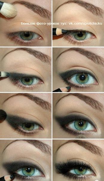 Макияж глаз поэтапно, уроки макияжа.