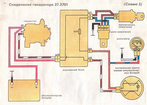 Электрическая схема соединения генератора с регулятором напряжения.  Схема проверки генераторной установки.